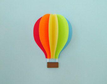 Hot Air Balloon Wall Decal Paper Wall Art Wall Decor 3D by goshandgolly | Etsy