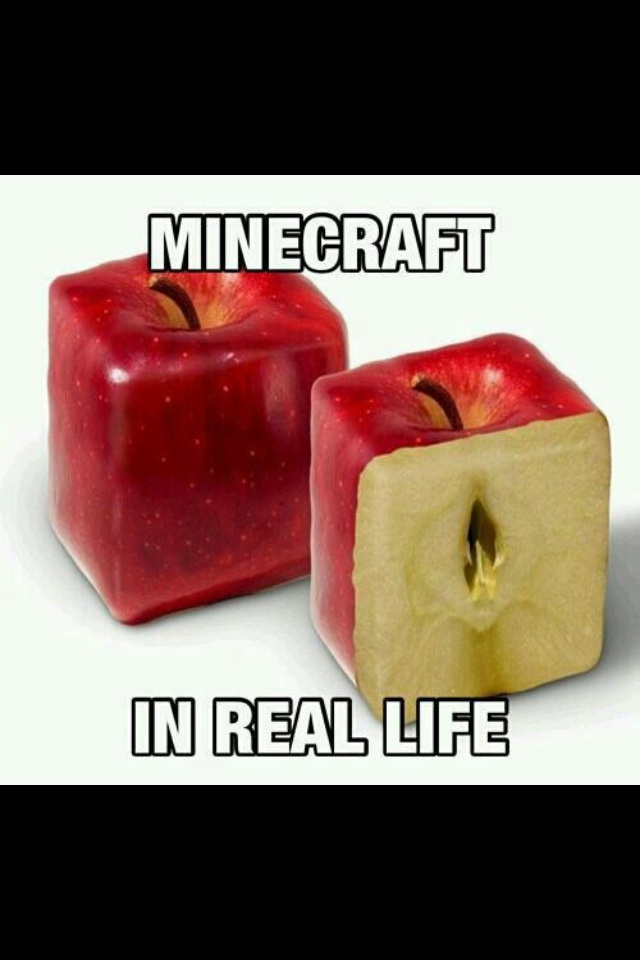 Pshhh no you obviously haven't played minecraft the apples are round in minecraft I mean like seriously do your research <3
