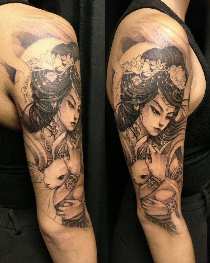 Moon goddess in progress #chronicink #moongoddess #geisha #asiantattoo #asianink…