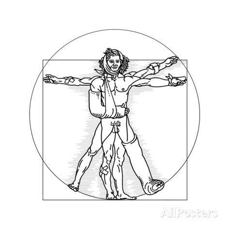 Injured Vitruvian Man, Conceptual Image Giclee Print by SMETEK - AllPosters.co.uk