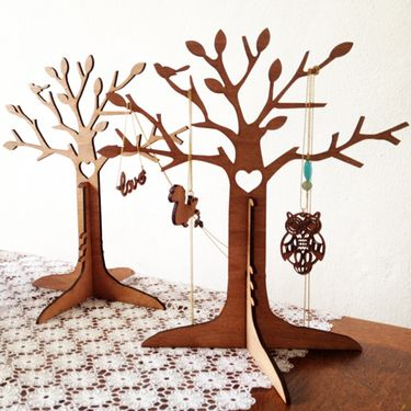 Wooden jewellery tree, this might look good for my nature collection display... #jewellery #display #woodcut #jewelry #nature #tree