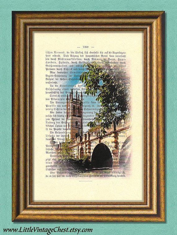 THE OLD BRIDGE  Dictionary art print Vintage by littlevintagechest, $7.99