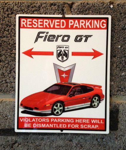 1987 pontiac fiero gt custom aluminum garage plaque