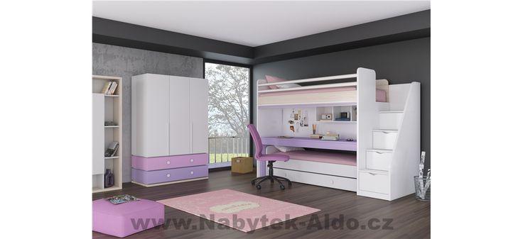 Dětský pokoj s patrovou postelí pro 3 holky