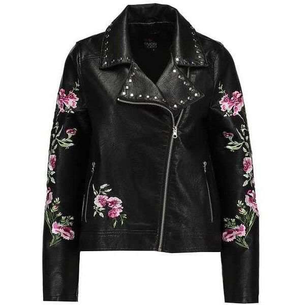 BIKER Faux leather jacket black ($66) ❤ liked on Polyvore featuring outerwear, jackets, biker style jacket, leather look jackets, vegan jackets, fake leather jacket and biker jackets