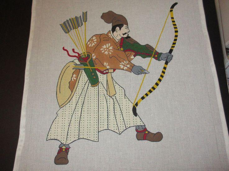 JB: Ninja Warrior #2 w/bow & arrow: Hand Painted Needlepoint Canvas