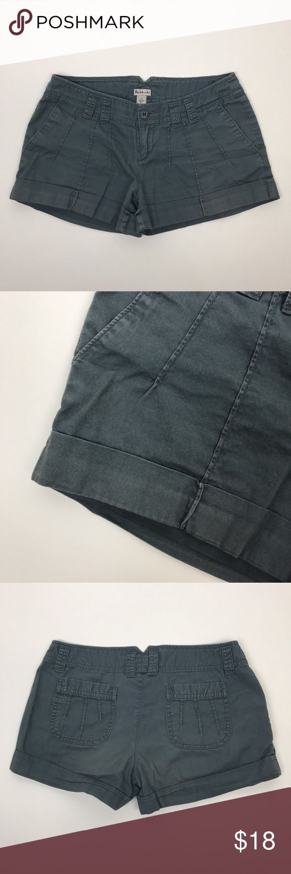 """[Rubbish] Cuffed Military Shorts Twill Soft Casual Casual cool shorts by Rubbish from Nordstrom. Zip fly with button closure. Pleat detailing with cuffed hem. Lightweight. A pretty grayish green color.  🔹Waist: 14.5"""" Lying Flat Across Top 🔹Rise: 7"""" 🔹Inseam: 3"""" 🔹Condition: Good pre-owned condition.   *W19 Rubbish Shorts"""