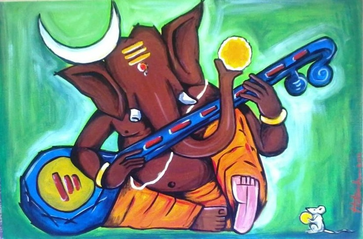 ganesha in mood - Painting by Hutansh Artist in my paintings at touchtalent 73955