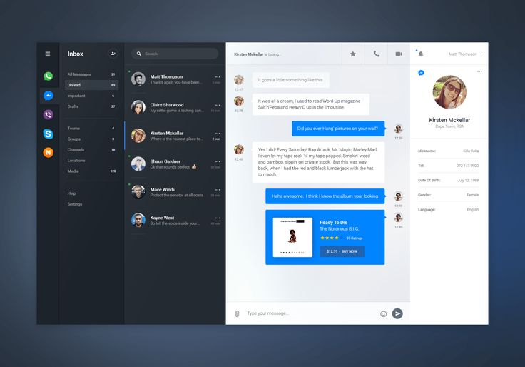 Free Chat Dashboard UI