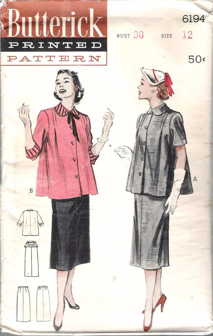 """Vintage 1952  Butterick 6194 Two Piece Maternity Dress: Boxy Smock Top Sewing Pattern Size 12 Bust 30"""" by Recycledelic1 on Etsy"""