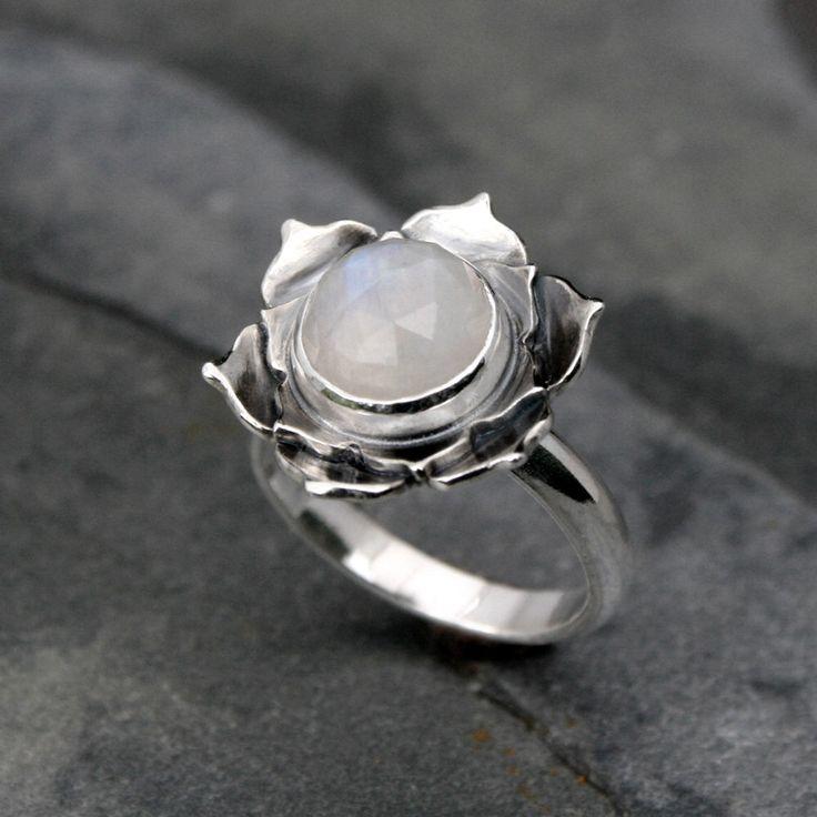 Moonstone Lotus Ring, Sterling Silver Statement Ring, Cocktail Ring, Faceted Rose Cut Gemstone, Luminous Lotus Flower, White Moonstone by KiraFerrer on Etsy https://www.etsy.com/listing/212845928/moonstone-lotus-ring-sterling-silver
