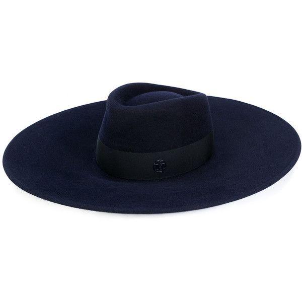 Maison Michel Waterproof Pina Felt Hat (€280) ❤ liked on Polyvore featuring accessories, hats, blue, felt hats, water proof hat, blue hat, waterproof hat and maison michel
