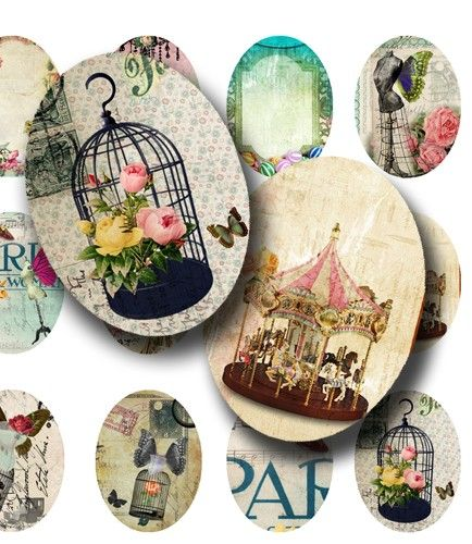Flying Paris and Wonderland30x40mm Oval Images  For by Narry, $3.50