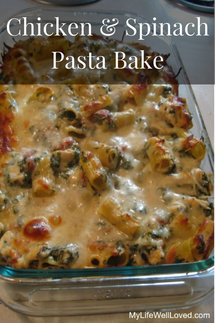 chicken & spinach pasta bake is a great easy dinner recipe to take to a new mom or when hosting out of town guests. Freezer Friendly Meal. Chicken Spinach Recipe. Chicken Casserole. This recipe is delicious from Heather Brown of MyLifeWellLoved.com