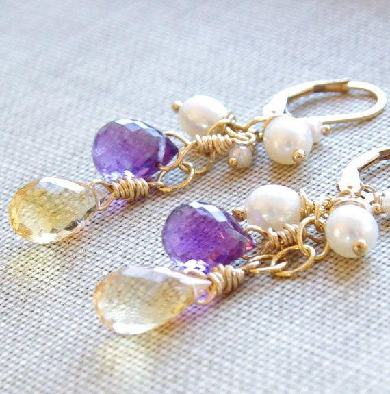 Amethyst Citrine Earrings Gemstone Earrings Pearl Yellow Purple Wedding Jewelry Wire Wrapped Dangle Earrings 14kt Gold Bride Earrings