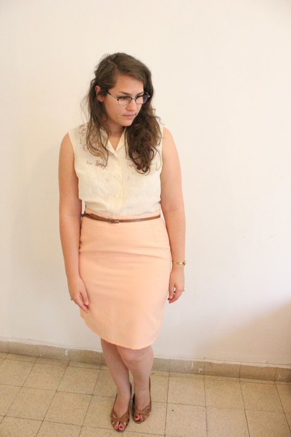 Peach Pink Pencil Skirt  CLEARANCE SALE by ClementinesBoutique, $10.00