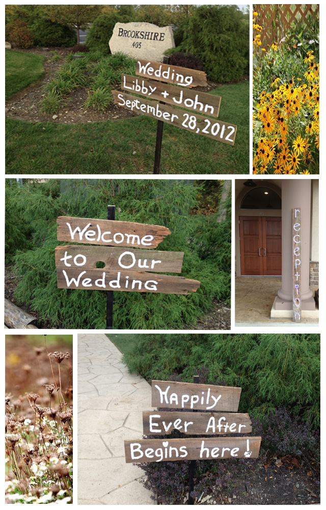 outdoor wedding ceremony sites in akron ohio%0A Wooden signs for wedding and reception  Columbus Ohio Wedding Reception  Venues   Brookshire