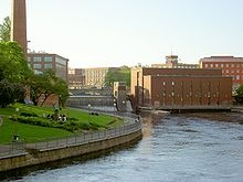 Finland -the Tammerkoski rapids in the inland city of Tampere