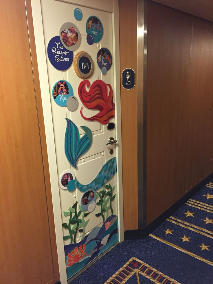 Our Little Mermaid-themed Disney Cruise door decoration. Lots of construction paper + some glitter tape + glue stick + photos from past Disney adventures + ... : disney door - Pezcame.Com