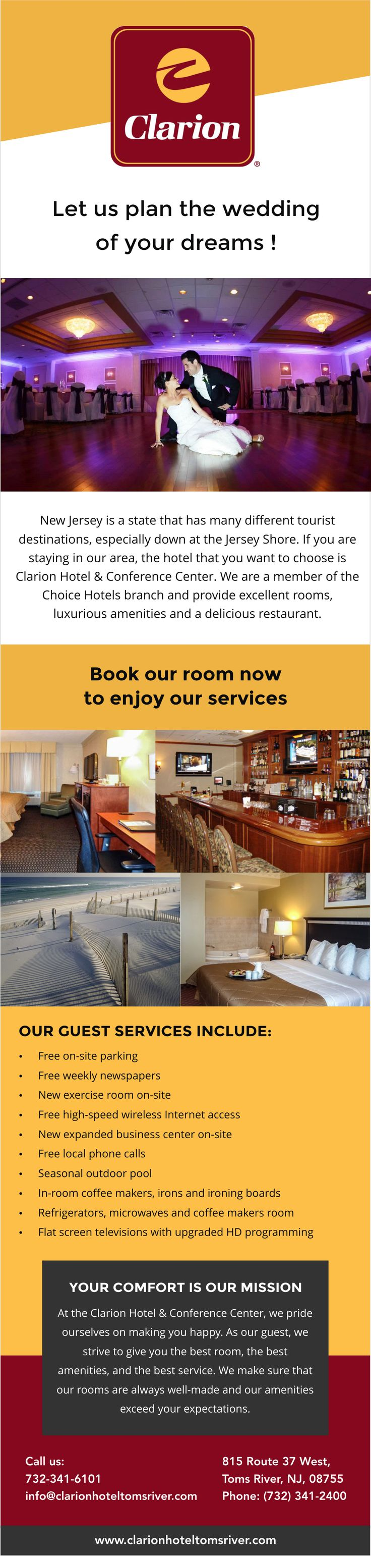 NJ has many different tourist destinations, especially down at the Jersey Shore. If you are staying in our area, the hotel that you want to choose is Clarion Hotel & Conference Center. We are a member of the Choice Hotels branch and provide excellent rooms, luxurious amenities and a delicious restaurant.  We can host your business meeting, corporate meeting, corporate event, or business conference any day of the week in Toms River NJ. Our award winning facility