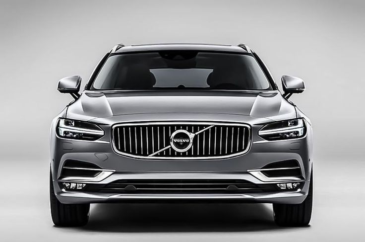 """2016 Volvo V90 ... front view. Doesn't it look wide, or is it an optical illusion? Love the """"hammer"""" daytime running lights"""