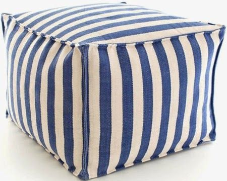 Coastal Decor with a Summer vibe. Blue and white striped pouf.