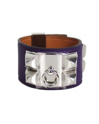 Hermes Collier De Chien Swift Ultraviolet Bracelet New