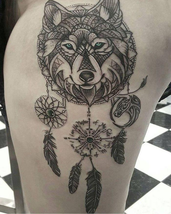 1001 Ideas For A Cute And Elegant Dream Catcher Tattoo In 2020 Wolf Tattoo Design Dream Catcher Tattoo Wolf Dreamcatcher Tattoo