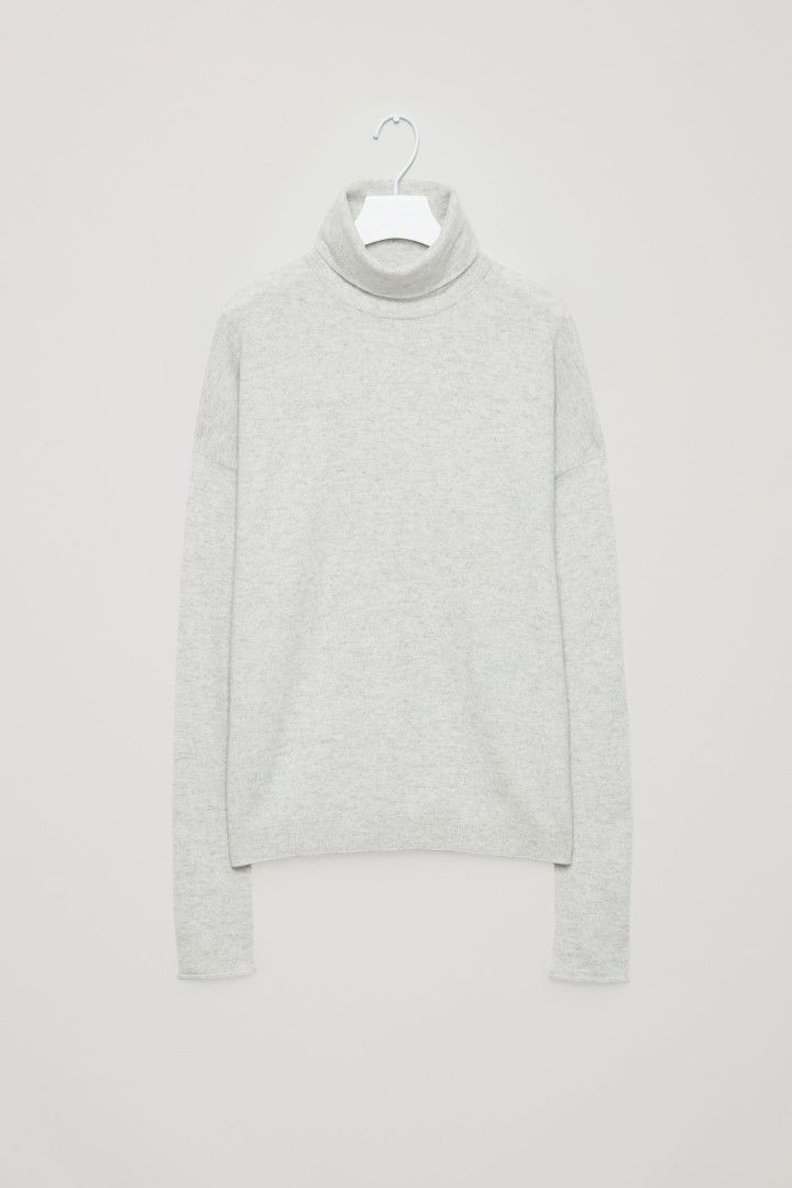 COS image 2 of Roll-neck cashmere jumper in Light grey