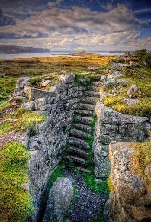 Dunbeag broch Iron Age settlement, looking toward Isle Ornsay, Isle of Skye, Scotland