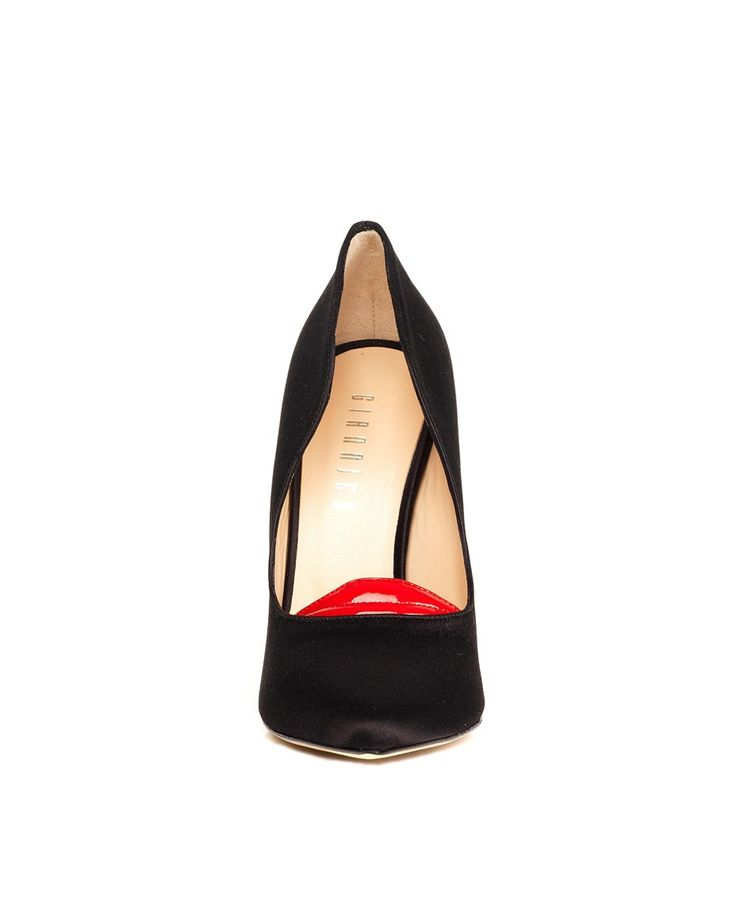 GIANNICO Dècolletè satin black conical tip lucid black heels leather sole and lining Heel: 9 cm