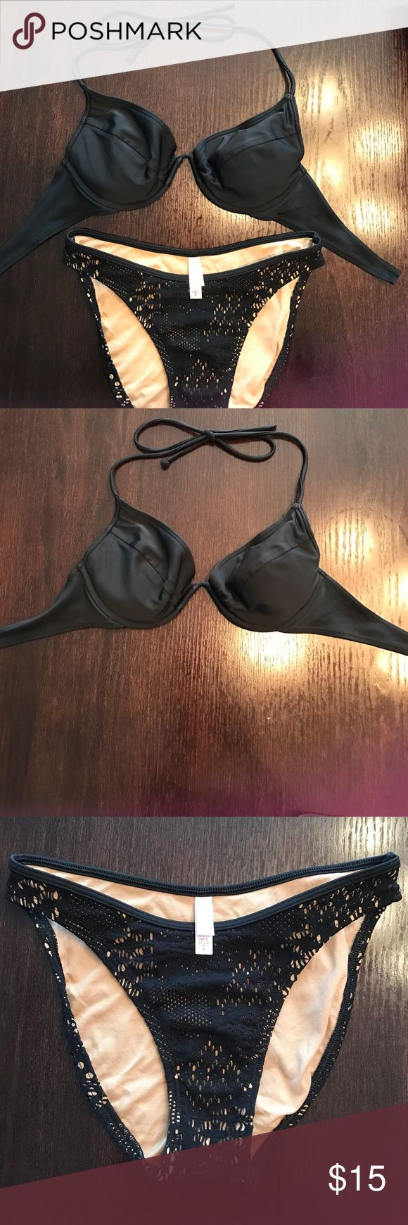 Victoria's Secret swim suit Victoria's Secret swim suit. Top is black size 36B. Bottoms are black and nude size small Victoria's Secret Swim Bikinis