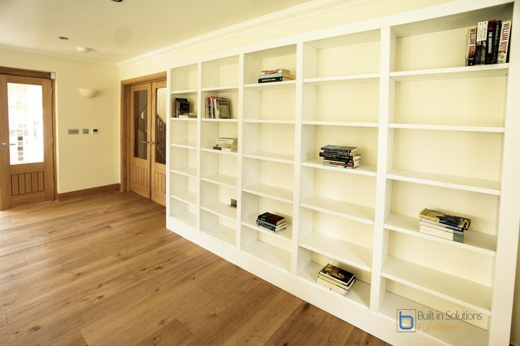 Our latest built in bookcases, 5 section giving a central focal point to the bookcase. Spray painted in White and fully fitted with adjustable shelves within a day.