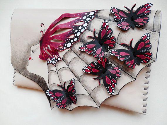 Painted Butterflies clutch Red Butterflies clutch by spiculdegrau