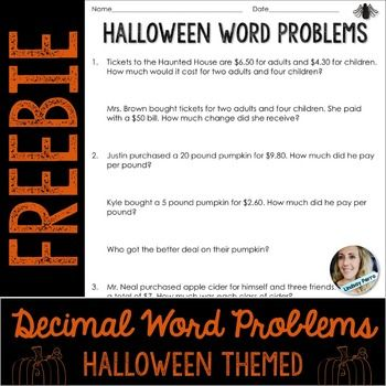 halloween decimal operations word problems free teaching resources pinterest activities. Black Bedroom Furniture Sets. Home Design Ideas