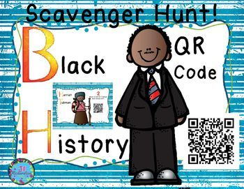 Black History QR Code Scavenger Hunt!  Have fun using your iPads to integrate technology into your social studies lessons. It includes:12 Different Famous Black Americans.  Each card has a question.1 Answer sheet1 Teacher Answer sheetDirectionsPrint the 12 Questions on card stock or any paper.Hang them around the classroom.Let the children use iPads to scan the QR code to answer the questions.They will record it on the answer sheet.