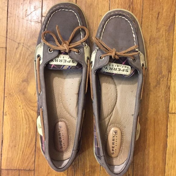Authentic SPERRY Topsider Angelfish Gray Boat Shoe Authentic Sperry Topsider angelfish style boat shoe, in grey with pink/purple plaid on the side. Classic Sperry leather laces. Great condition, only worn a few times. Sperry Top-Sider Shoes Flats & Loafers
