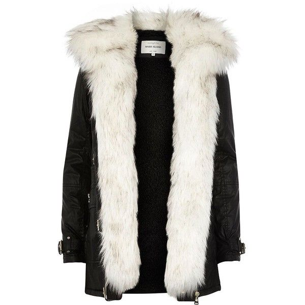 River Island Black faux fur trim parka jacket ($230) ❤ liked on Polyvore featuring outerwear, jackets, coats, black, coats / jackets, parkas, women, faux fur jacket, fake fur jacket and river island jacket