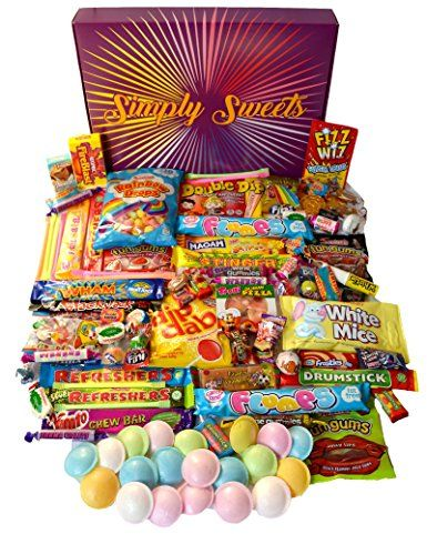 Simply Sweets super retro sweet hamper gift box. Packed with 98 of the best retro sweets. A perfect hamper for Birthdays, Get Well Soon, Christmas. Packed in...