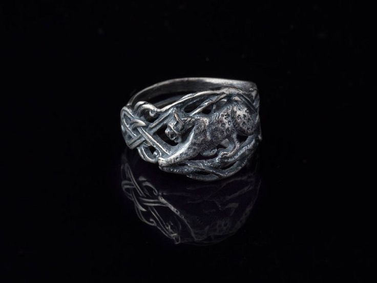 Bobcat Ring With Celtic Knot sterling silver от ArtifactoryStore