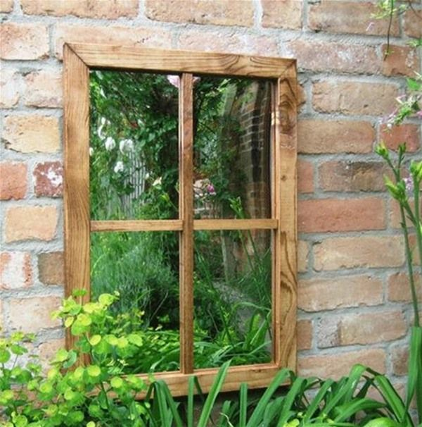 Victorian Window Outdoor Garden Mirror. Mirrors in the garden are a great way to expand the space.
