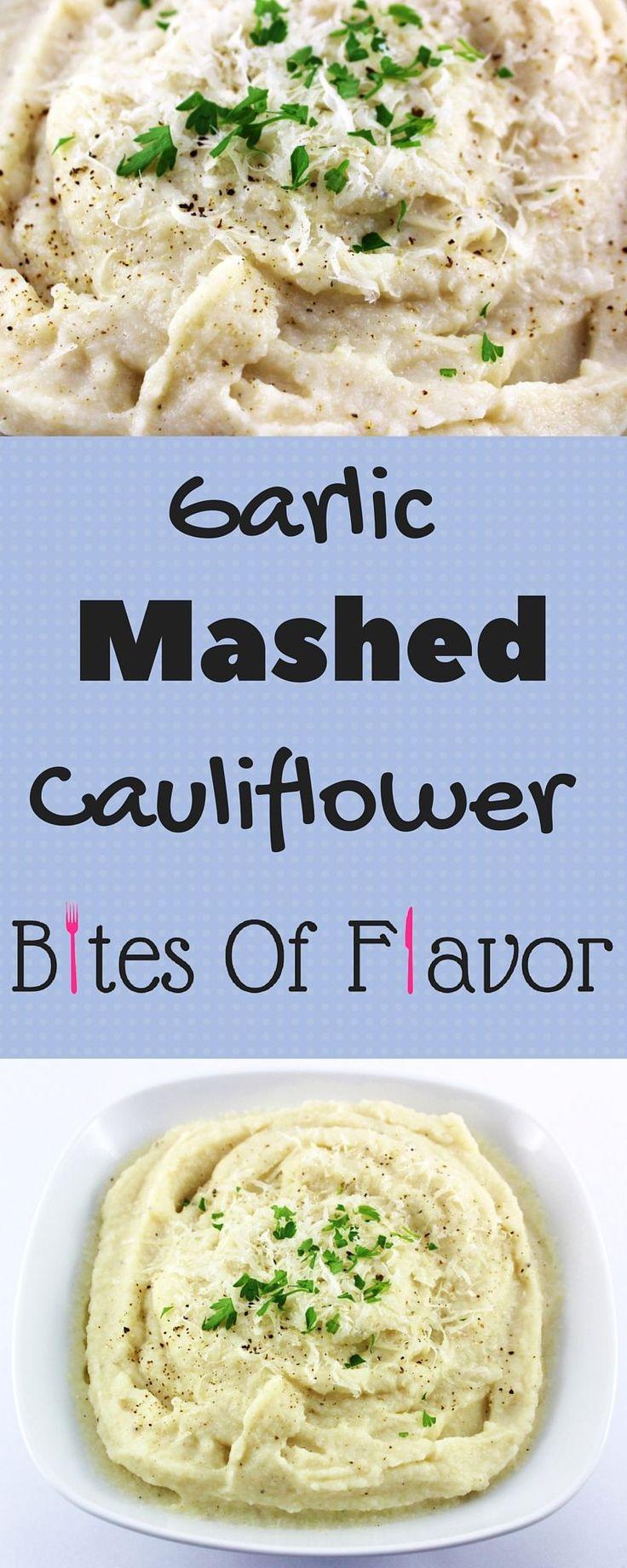 Garlic Mashed Cauliflower-Healthy Comfort Food- 2 SmartPoints- Cauliflower Recipes