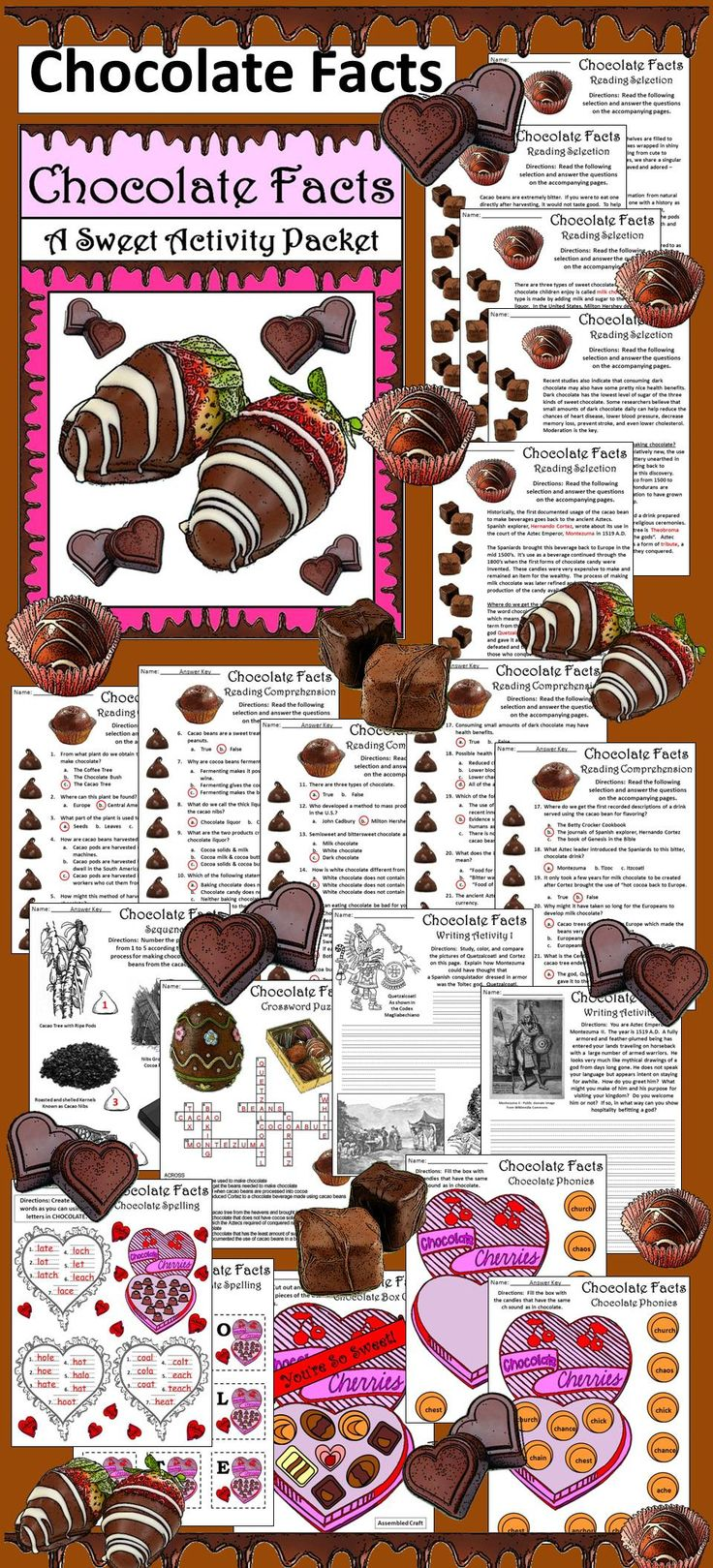 Chocolate Facts Activity Packet: Easter & Valentine's Day activity packet on the history and creation of Chocolate!  Contents include: * Chocolate Facts Reading Selection & Comprehension Quiz * Chocolate Crossword Puzzle * Two Writing Activities * Chocolate Spelling Activity * Two Chocolate Phonics Activity * Box of Chocolates Construction Craft * Basket of Chocolate Craft * Answer Keys #Valentines #Day #Easter #Chocolate #Reading #Language #Arts #History #AnnDickerson #Teacherspayteachers