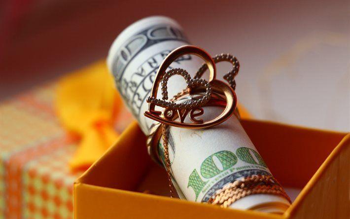 Scarica sfondi ciondolo in oro, cuore d'oro, 100 dollari, dollari bundle