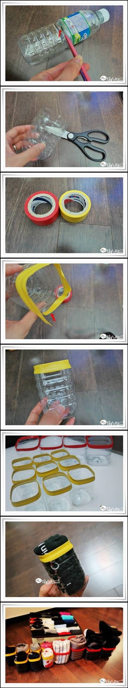 DIY Plastic Bottle Underwear Organizer diy easy crafts diy ideas diy crafts do it yourself home crafts easy diy organizer diy organization craft organization home diy diy tutorials