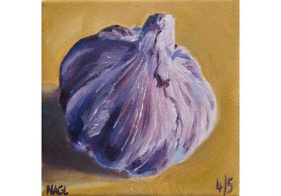 Garlic Bulb (May 2014) original oil painting still life on box canvas on Etsy, £60.00