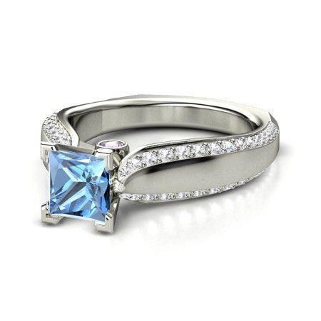 princess blue topaz platinum ring with aquamarine