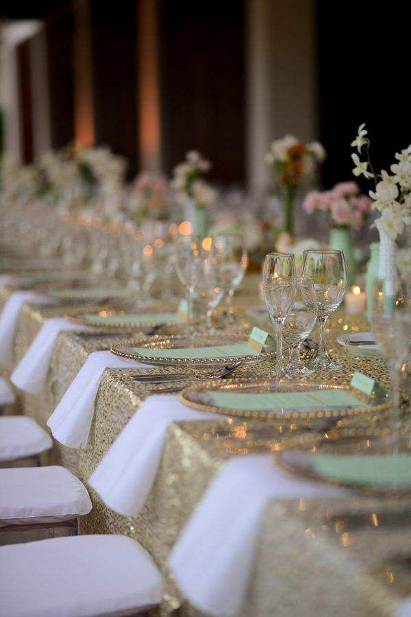 Color Inspiration: Modern Mint Wedding Ideas - wedding decorations idea; Katherine Stinnett Photography - Mint and gold glitter colour palette. Wedding Idea for tablescape.