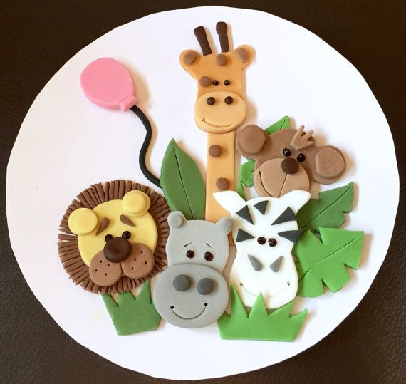 "1 x edible icing Jungle Animal zoo themed round 7"" cake topper decoration by ACupfulofCake on Etsy £13.50"