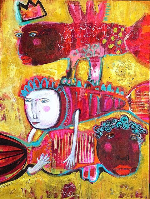 """The Thomasetti Triplets Always Traveled Together""""- mixed media on canvas by Jacqui Fehl"""
